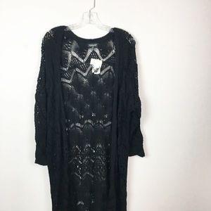 NWT Topshop black crochet duster cardigan medium